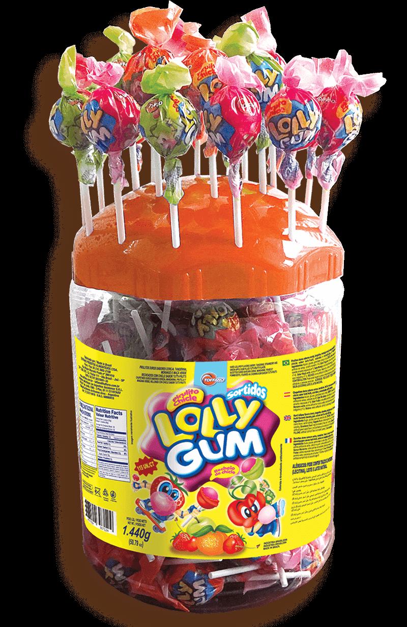 Pote Lolly Gum Frutas - Pirulito Recheado