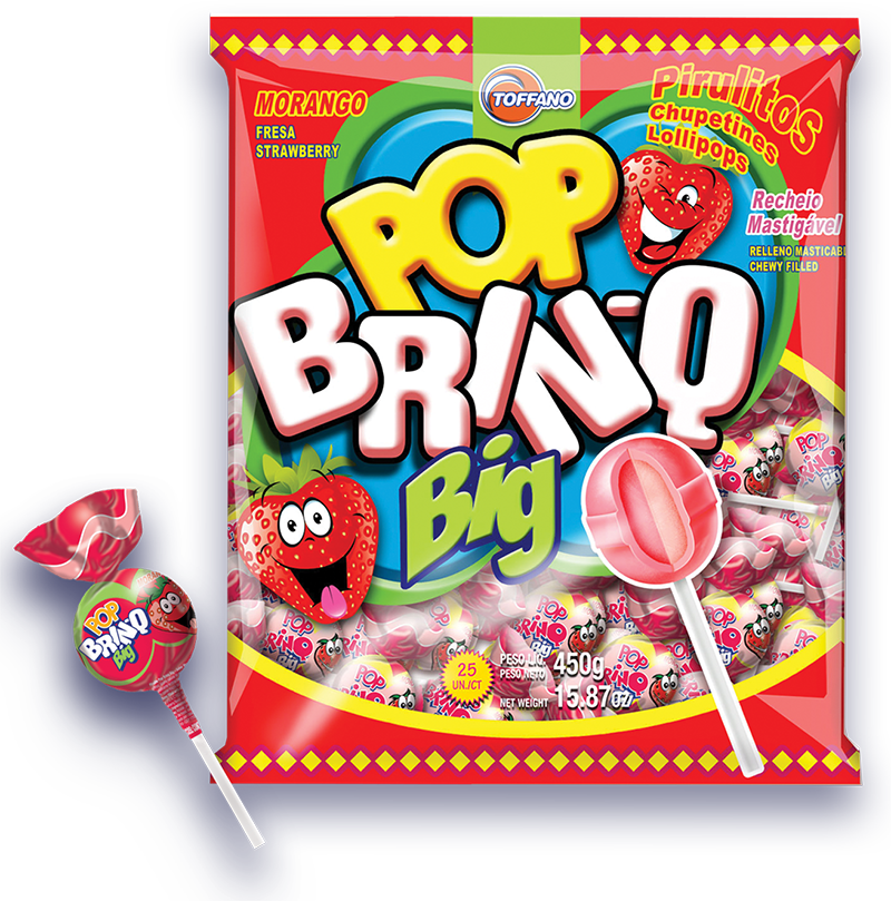Pop Brinq Big - Pirulito Morango